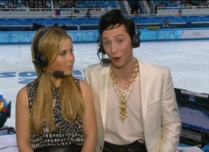 Johnny Weir rocking his official Sochi commentary for NBC.